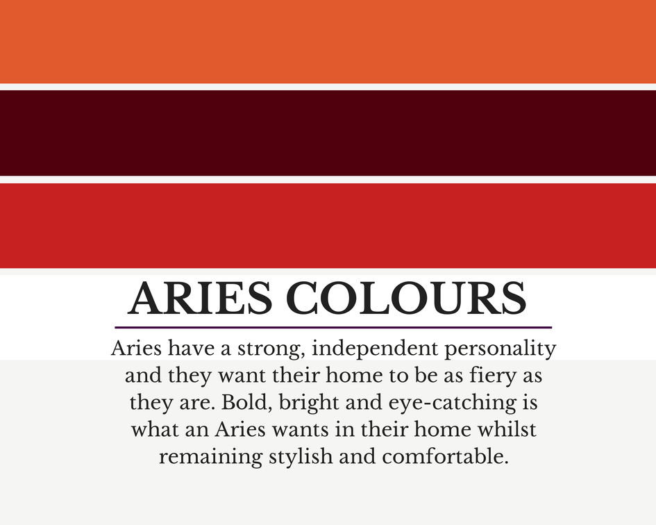 Colour Schemes To Suit ARIES & How To Use Them In Your Home