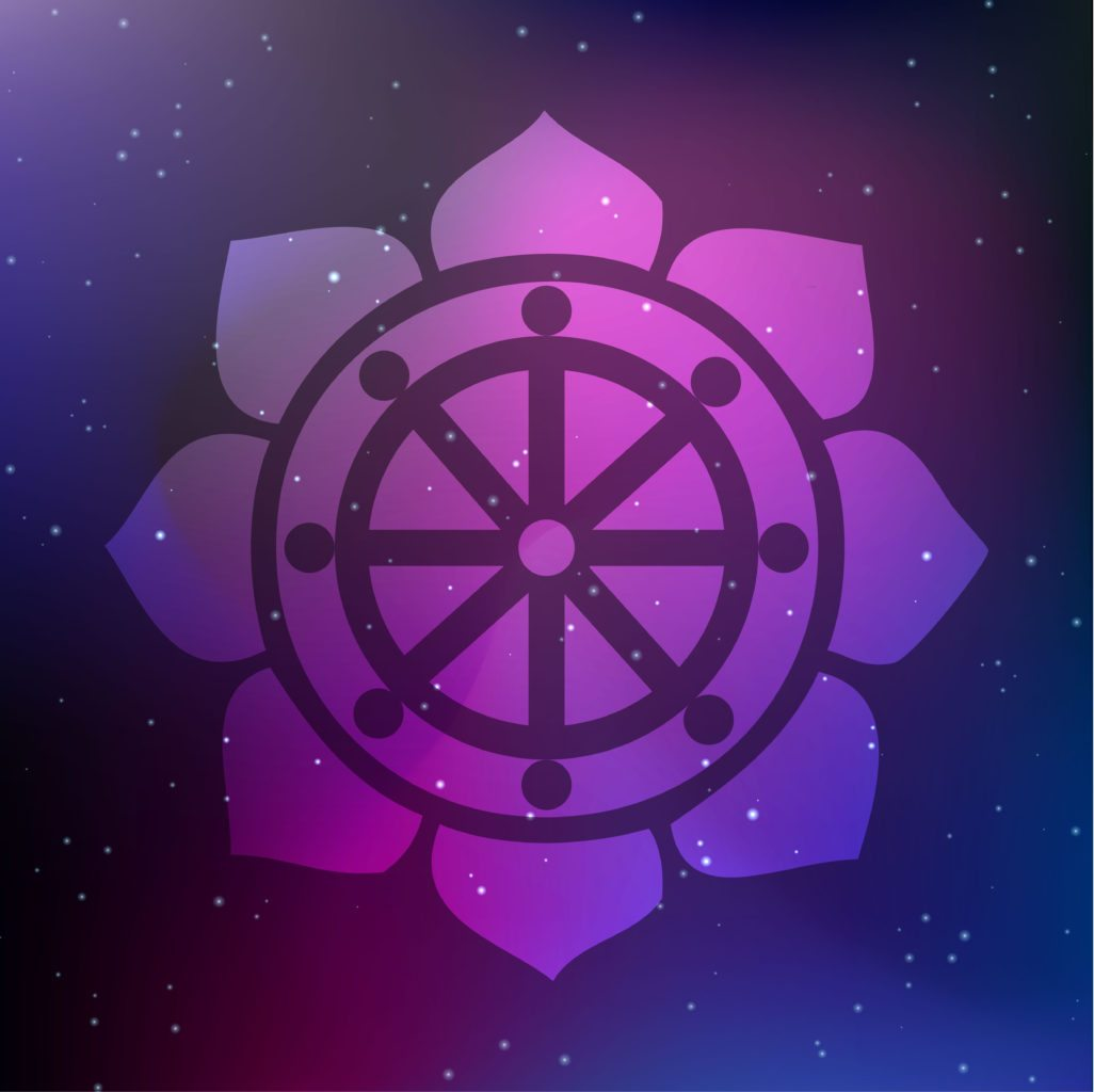 How many of these spiritual symbols do you know wishing moon buddhists believe that there are eight steps on the path to reaching nirvana each spoke on the wheel of dharma symbol represents a different step biocorpaavc Choice Image